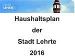 Haushaltsplan 2016 - Lehrte